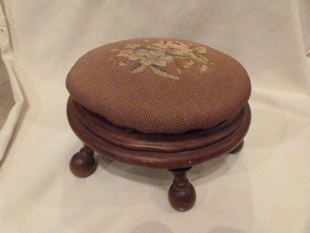 "ANTIQUE Victorian Needlepoint Foot Stool Ottaman ottoman Walnut Flowers  12.5""D"