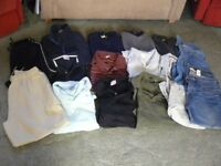 "MEN'S WORK WEAR CLOTHING BUNDLE 38"" WAIST JEANS SHORTS XL POLO TOPS FLEECE 16 ITEMS"