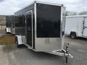 "Aluminum 6x12 Cargo Trailers 6'6"" tall, V-nose Ramp Door"