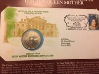 Queen mother 80th birthday first day cover postage stamp and crown coin 1980 presentation pack