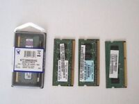 Four Ram DDR 256 MB and DDR3 1GB