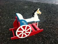 Vintage kids rocking horse and cart