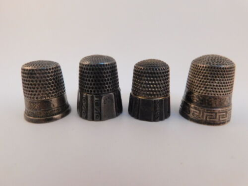 4 STERLING SILVER SEWING THIMBLES VINTAGE ANTIQUE GREEK KEY RIBBED VICTORIAN