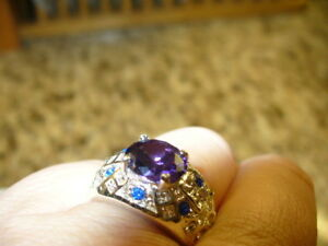 Beautiful Amethyst + Zircon ring, size 8