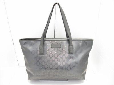 Auth GUCCI Imprime 211137 DarkGray PVC &  Leather Shoulder Bag