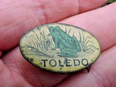 Toledo Tin Tobacco Tag with Green Frog