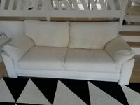 Two Modern Ivory Sofa,s