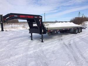 2017 Double A, 32FT Gooseneck w/ 9FT Bifold Hydraulic Dovetail