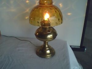 Antique Brass Bradley & Hubbard Electrified Oil Lamp Amber Shade