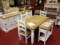 New White Cream or Grey Corona 5 ft Dining table with 4 chairs £299 white or grey in store now