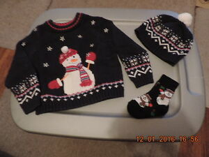 Size 24 months Snowman Sweater, Hat & Socks