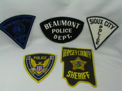 713sc Misc POLICE & SHERIFF DEPARTMENT Patches ~ 5pc Patch LOT