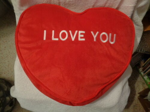 "Heart Shaped Red plush Pillow Large 15""-17"" Valentines I Love You Kellytoy RARE"