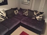 L shape left hand corner sofa and cuddle swivel chair