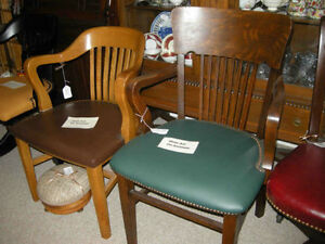 antique office chairs swivel and straight leg-new leather seats