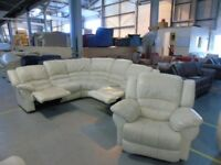 PRE OWNED Manual Reclining Corner Sofa + Rocker Recliner Chair in Cream Leather