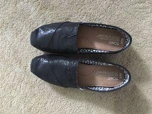 Authentic Women Black Glitter Toms Shoes