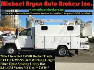 2006 CHEVROLET C4500 34FT BUCKET TRUCK / FIBRE SPLICING BOX