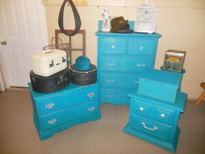 antique dresser, nightstands, stools, etc. painted,  teal London Ontario image 8