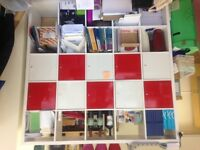 Ikea White Kallax Shelving unit with 10 inserts white/red