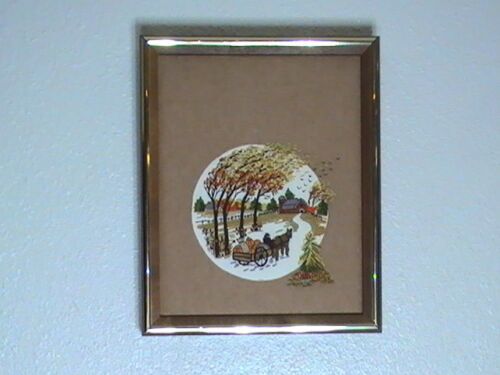 """Paragon Fall Scene  Advertising Display Embroidery 1982  9"""" x 11"""" RARE Completed"""