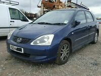 HONDA CIVIC 2004 BREAKING FOR SPARES TEL 07814971951 HAVE FEW IN STOCK PLEASE CALL