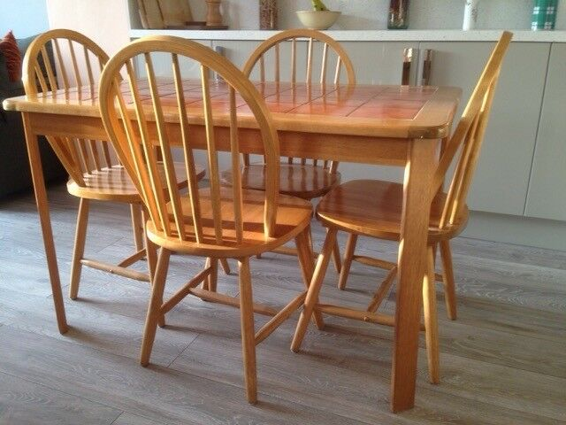 Terracotta Tile Top Dining Table And 4 Chairs