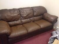 Leather SOFA Excellent Condition Three Seater Very Clean Big & Comfy Soft Moving House Deliver Free