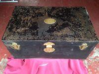 Painted metal trunk and galvanised metal box