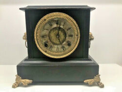ANTIQUE VICTORIAN WOODEN MANTEL CLOCK WITH GOLD GILDED LION HEADS WITH RINGS