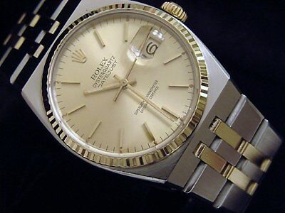 Rolex Datejust Oysterquartz 17013 Stainless Steel Yellow Gold Watch Champagne