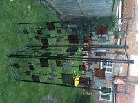 3 panel room divider, multi coloured metal.