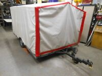 flat bed 9ft 3 ins long x 6.6 ft trailer with full removeable canopy @ 4.6 ft height