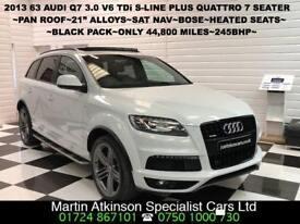 2013 63 Audi Q7 3.0 V6 TDi S-Line Plus Quattro 4X4 245BHP 7 Seater