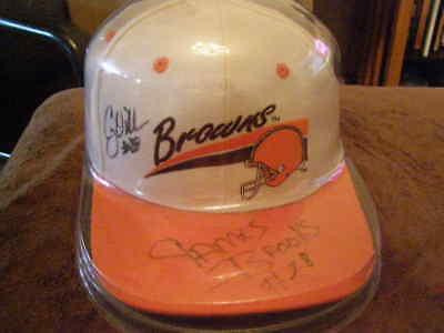COREY DILLON JAMES BROOKS Autographed Browns Baseball Cap NFL W/ Plastic Wrap