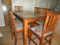 Ceramic & Wood Pub Style Dining Table & 6 Chairs