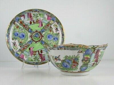 Bowl Trash Can Eastern with Dish Porcelain Painted Xx Century