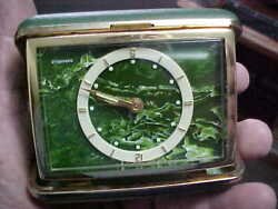 VINTAGE Small Metal Folding Travel Alarm Clock - Nice