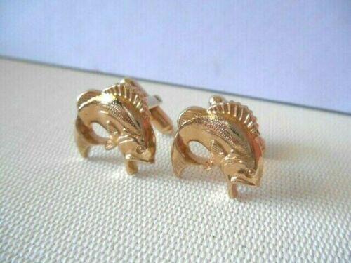 Vintage HICKOK USA Goldtone Fish Cufflinks