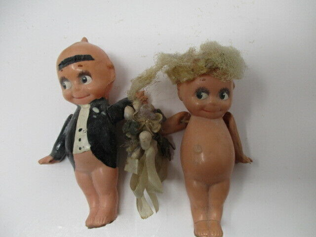 "Vintage Kewpie Jointed Bride & Groom w/Wings ""8/0"" on Back"