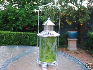 Metal-Tealight-Lantern-Candle-Holder-Green-Glass-Home-Decor-Garden-Ornament