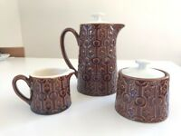 Japanese Tea Coffee Pot Large with Creamer and Sugar Bowl (stoneware By Giftcraft Japan)