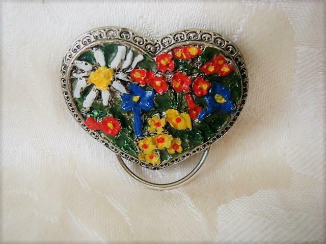 Silver Tone Heart Shape Scarf Ring Clip With Colorful Flowers