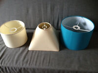 3 Lamp shades ( 2 cream, 1 Teal / Turquoise) lampshades, light shades