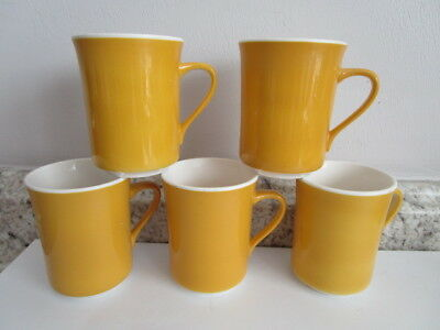 Syracuse China Syralite Coffee Mugs Set of 5 Yellow Gold