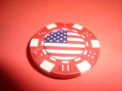 "United States of America "" FLAG Multi-Color Image Poker Chip Magnet Red-White"