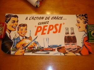 Affiche Pepsi, bouteille, caisse Molson et de liqureur, tableau,