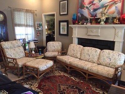 Vintage 4 Pc Ficks Reed Bamboo Rattan Mid Century Modern Sofa 2 Chairs Ottoman