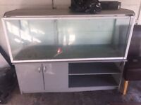 Fish tank/aquarium 5ft3in silver coloured trim/lid with cabinet