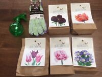 3 pairs of Briers gardening gloves, 95 bulbs (Tulip/Anemone) from Waitrose Garden and water sprayer